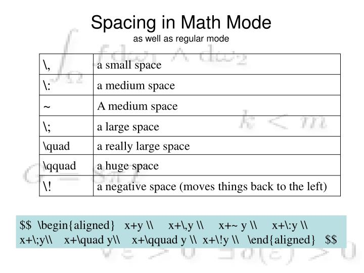 Spacing in Math Mode
