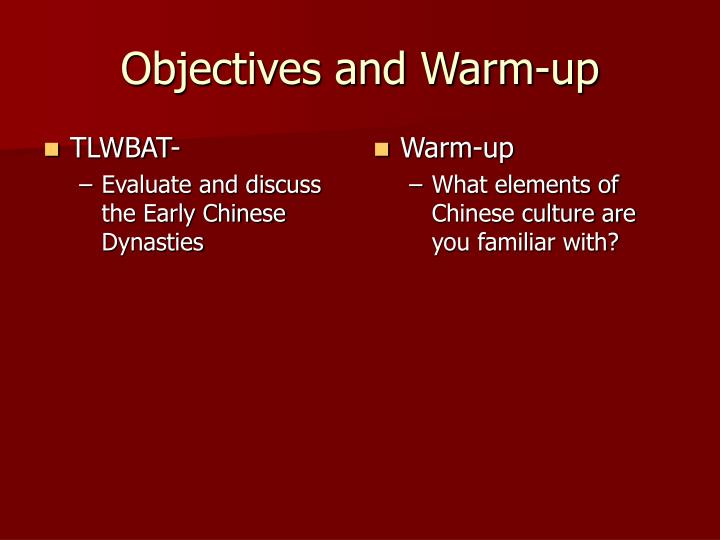 Objectives and warm up