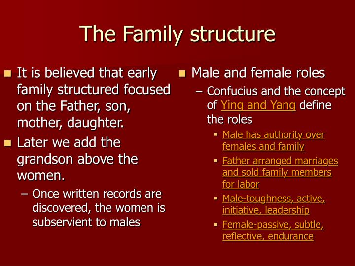 It is believed that early family structured focused on the Father, son, mother, daughter.