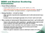 qens and neutron scattering instruments