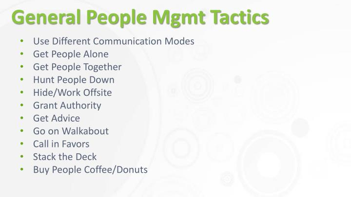 General People Mgmt Tactics