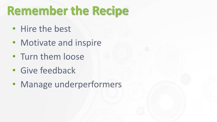Remember the Recipe