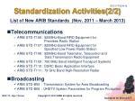 standardization activities 2 2