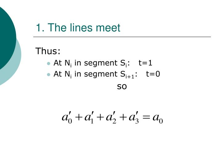 1. The lines meet