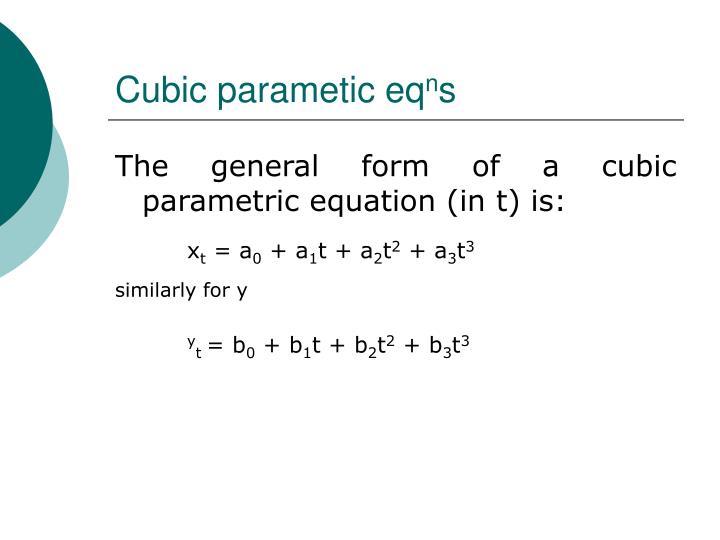 Cubic parametic eq