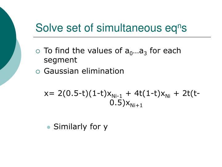 Solve set of simultaneous eq