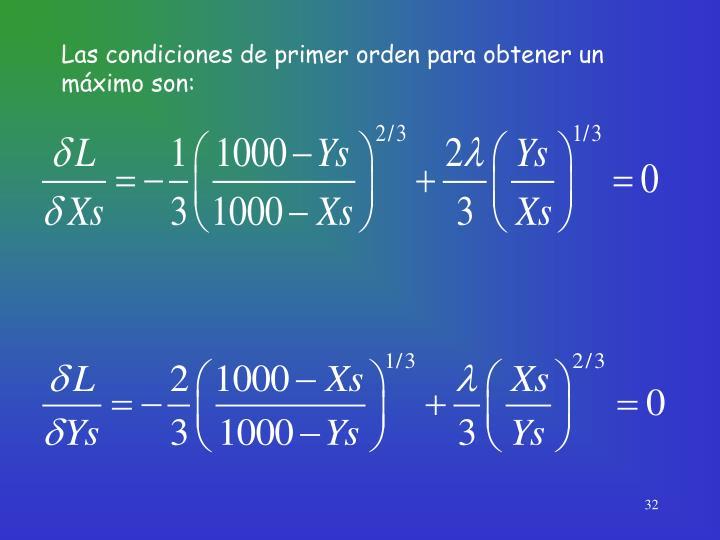 Las condiciones de primer orden para obtener un máximo son: