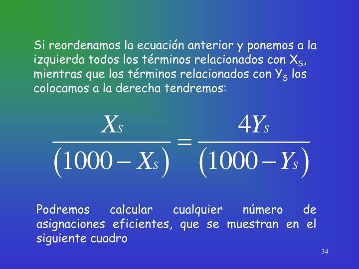 Si reordenamos la ecuación anterior y ponemos a la izquierda todos los términos relacionados con X