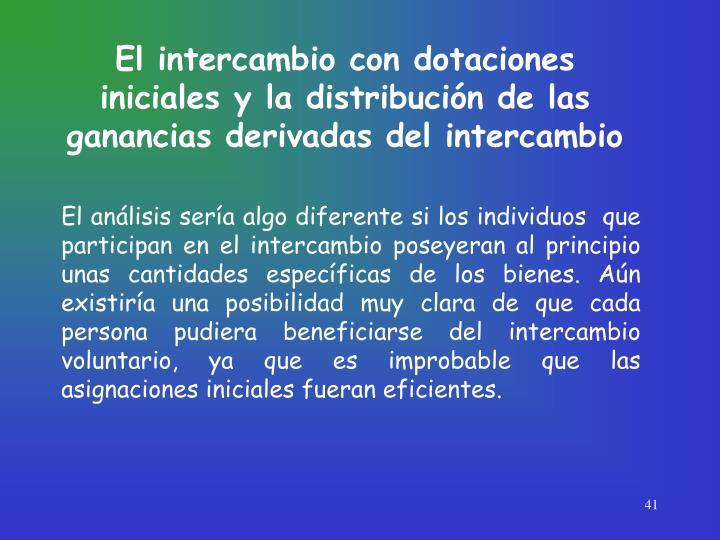 El intercambio con dotaciones iniciales y la distribución de las ganancias derivadas del intercambio