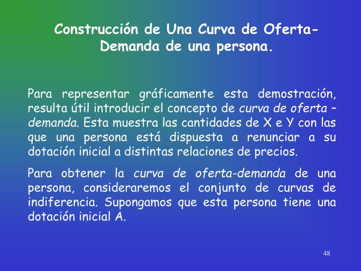 Construcción de Una Curva de Oferta-Demanda de una persona.