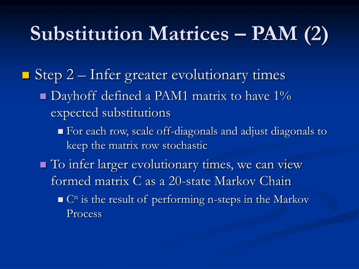 Substitution Matrices – PAM (2)