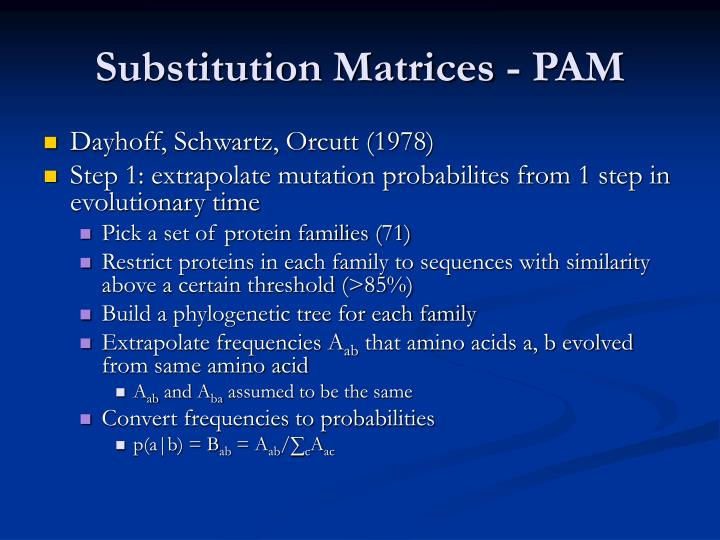 Substitution Matrices - PAM