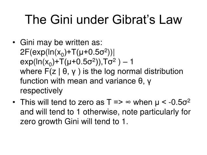 The Gini under Gibrat's Law