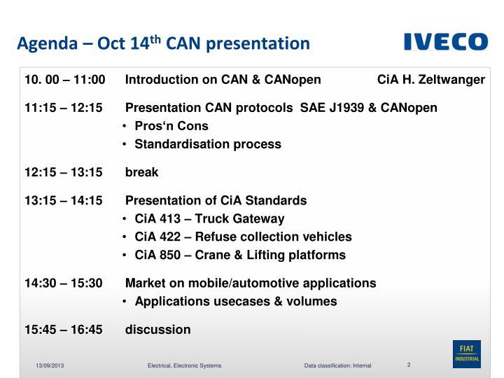 Agenda oct 14 th can presentation