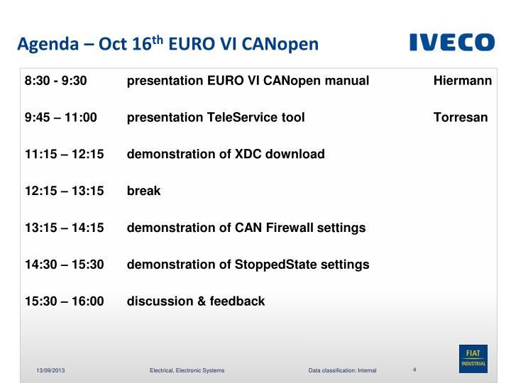 Agenda – Oct 16