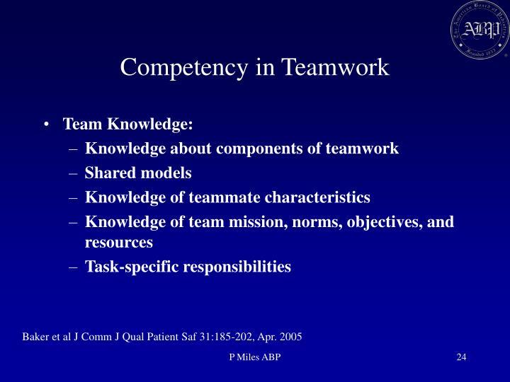 Competency in Teamwork