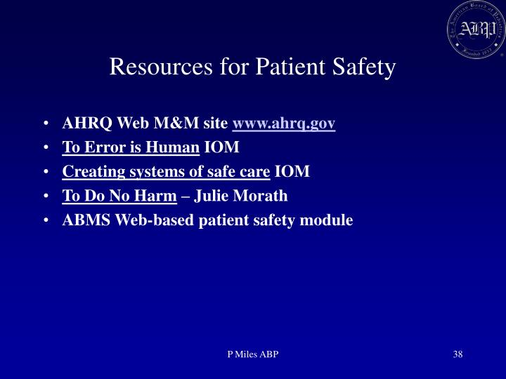 Resources for Patient Safety