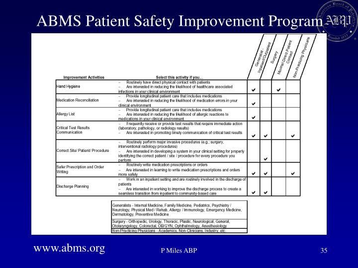 ABMS Patient Safety Improvement Program