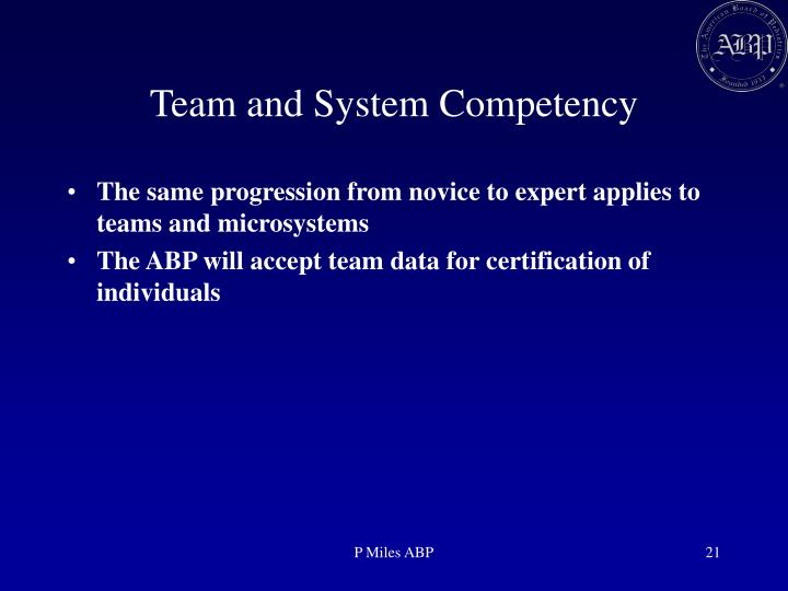 Team and System Competency
