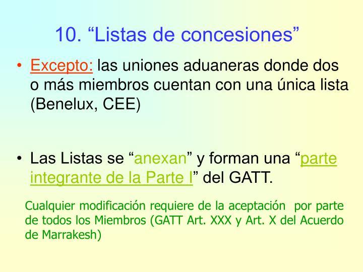 """10. """"Listas de concesiones"""""""