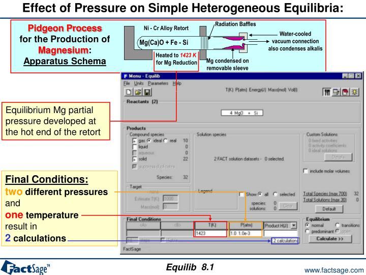 Effect of Pressure on Simple Heterogeneous Equilibria: