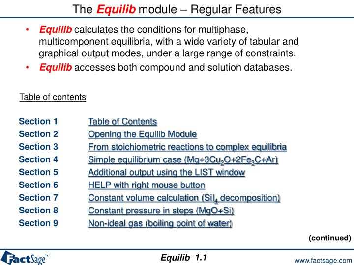 The equilib module regular features