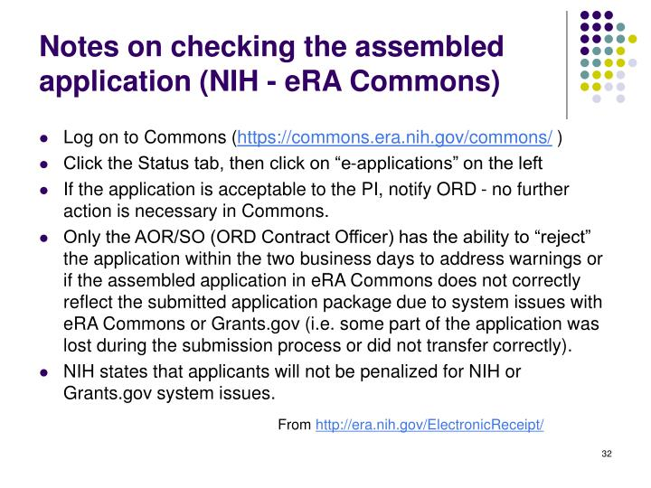 Notes on checking the assembled application (NIH - eRA Commons)