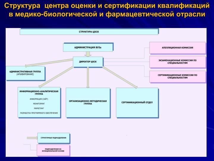 Структура  центра оценки и сертификации квалификаций  в медико-биологической и фармацевтической отрасли