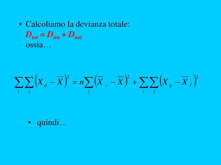 Calcoliamo la devianza totale: