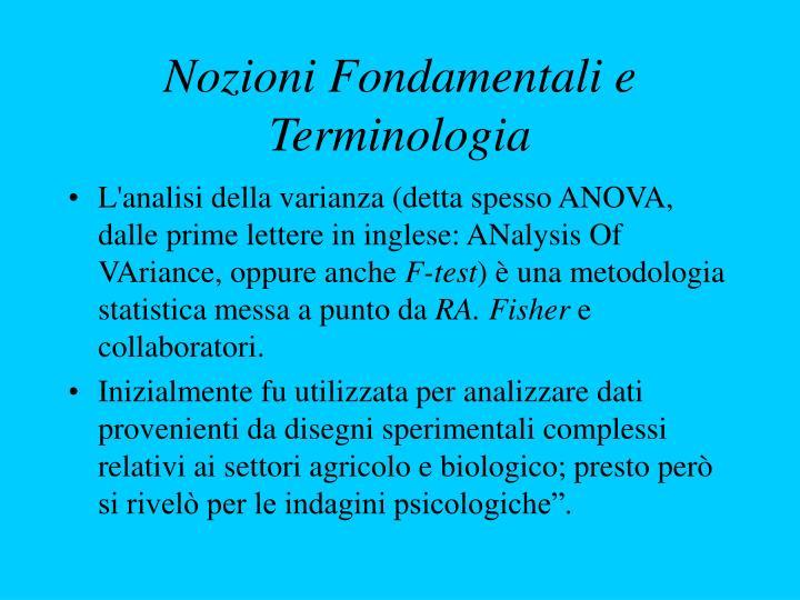 Nozioni Fondamentali e Terminologia