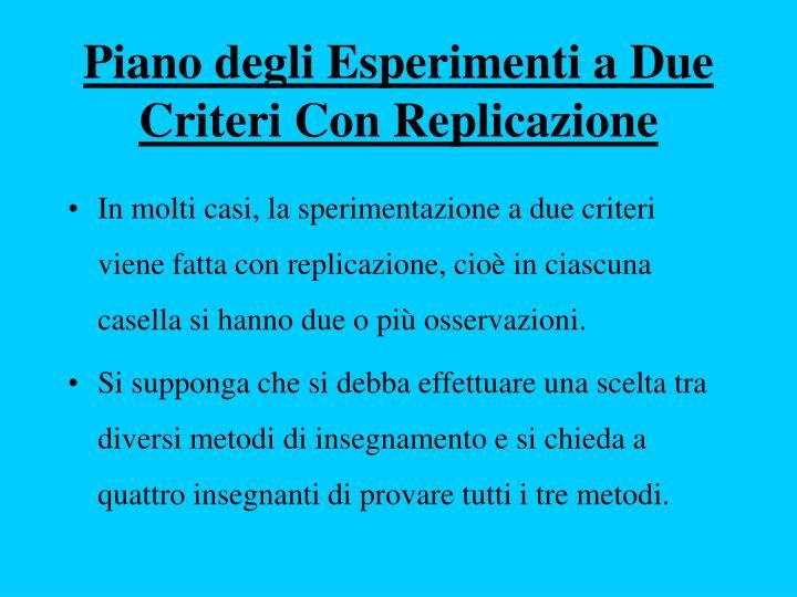 Piano degli Esperimenti a Due Criteri Con Replicazione
