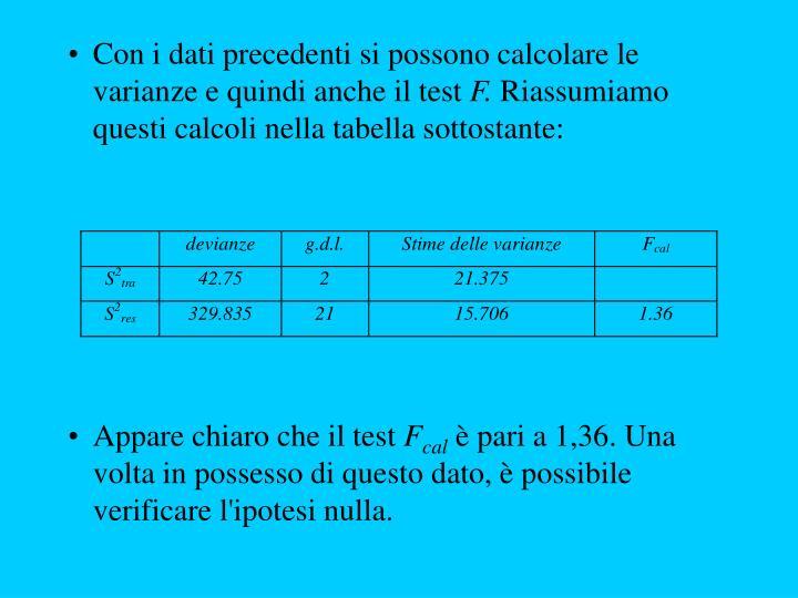 Con i dati precedenti si possono calcolare le varianze e quindi anche il test