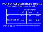 provider reported illness severity comorbidity regressions n 800