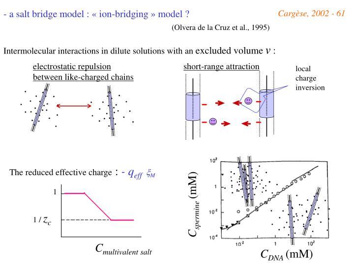 a salt bridge model : «ion-bridging» model ?