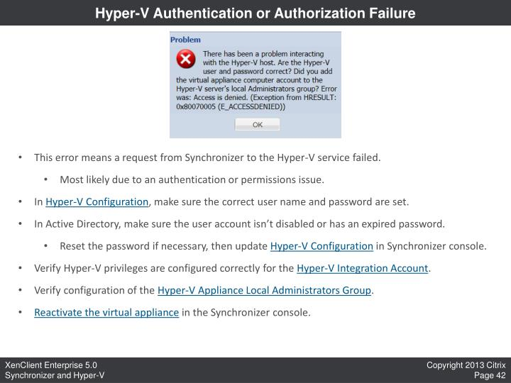 Hyper-V Authentication or Authorization Failure
