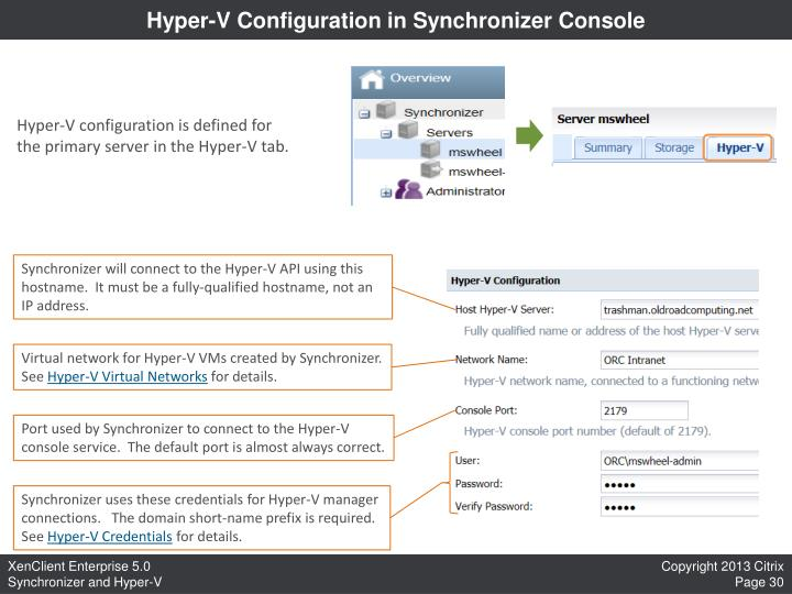 Hyper-V Configuration in Synchronizer Console