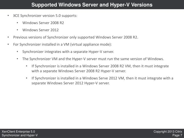 Supported Windows Server and Hyper-V Versions