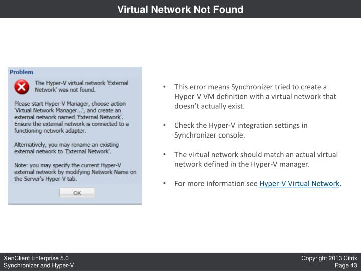 Virtual Network Not Found