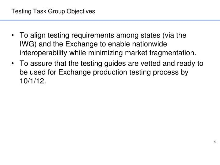 Testing Task Group Objectives