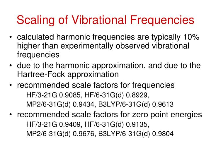 Scaling of Vibrational Frequencies
