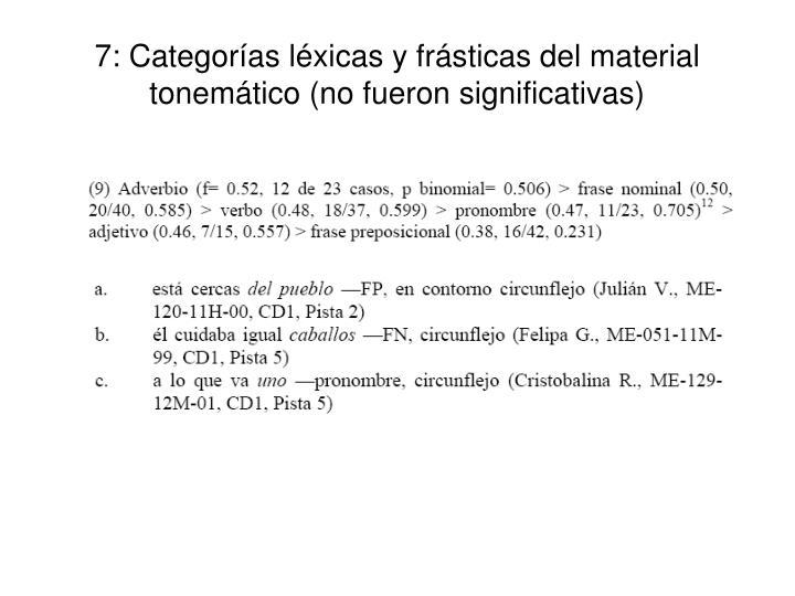 7: Categorías léxicas y frásticas del material tonemático (no fueron significativas)