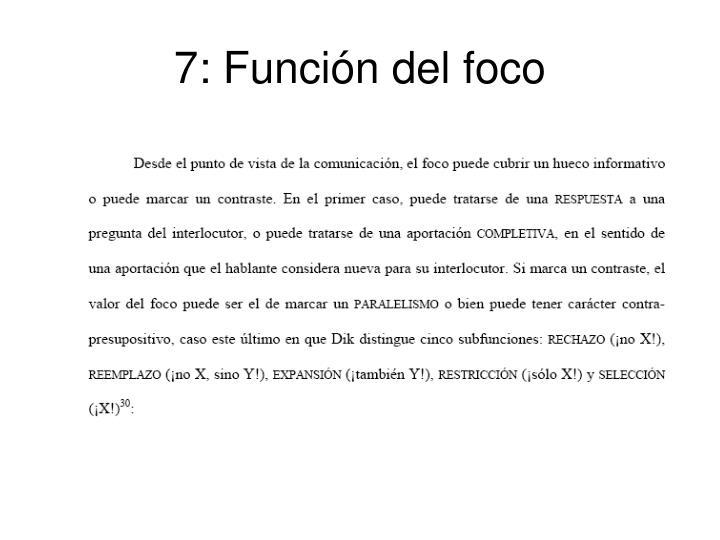 7: Función del foco