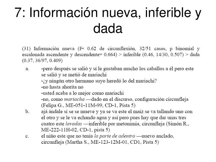 7: Información nueva, inferible y dada