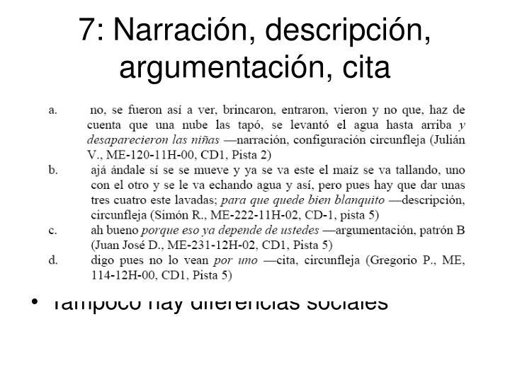 7: Narración, descripción, argumentación, cita
