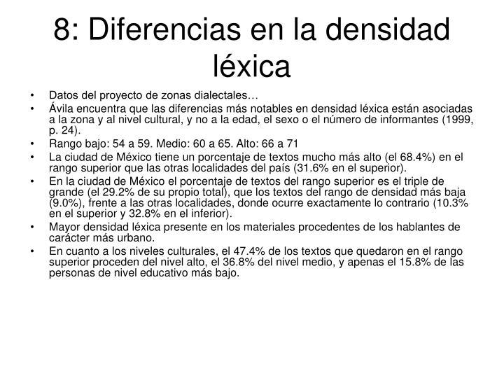 8: Diferencias en la densidad léxica