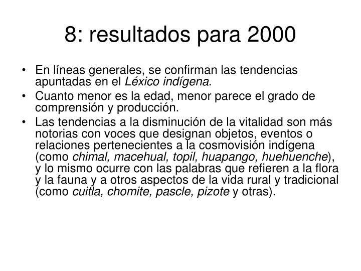 8: resultados para 2000