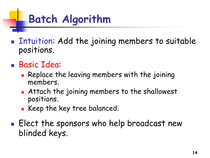 Batch Algorithm