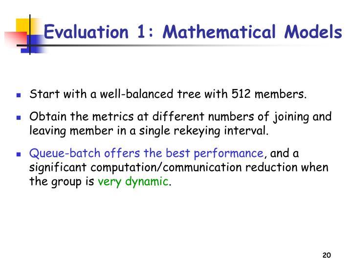 Evaluation 1: Mathematical Models
