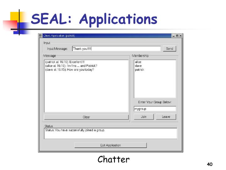 SEAL: Applications