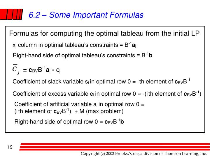 6.2 – Some Important Formulas